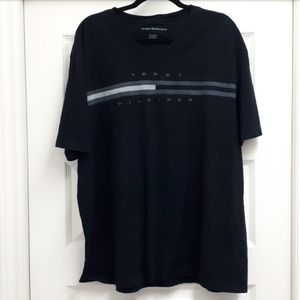 Black Tommy Hilfiger flag across the chest tee